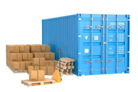 seafreight: Cargo shipping concept isolated on white background