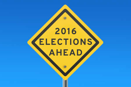 elect: elections 2016 ahead road sign isolated on blue sky Stock Photo