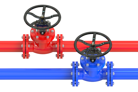 stop gate valve: Pipelines with valves isolated on white background