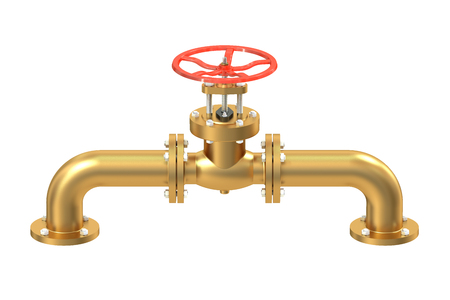 stop gate valve: Copper pipeline with valve isolated on white background