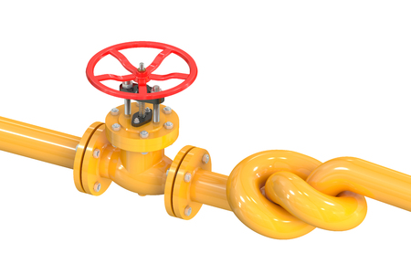 stop gate valve: pipeline with a knot isolated on white background