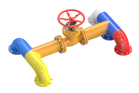 stop gate valve: Russia-Ukraine gas crisis concept isolated on white background