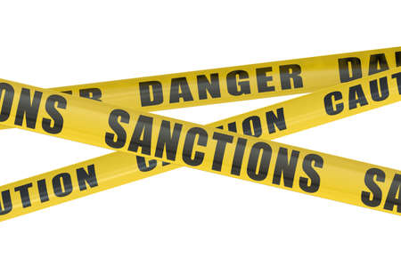 alert ribbon: Sanctions concept isolated on blue sky Stock Photo