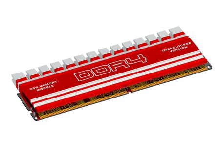 dimm: DDR4 memory module isolated on white background