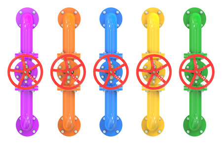 stop gate valve: colored pipelines with valves isolated on white background Stock Photo
