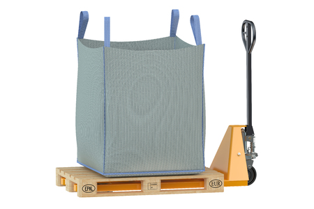 flexible: pallet jack with big bag isolated on the white background