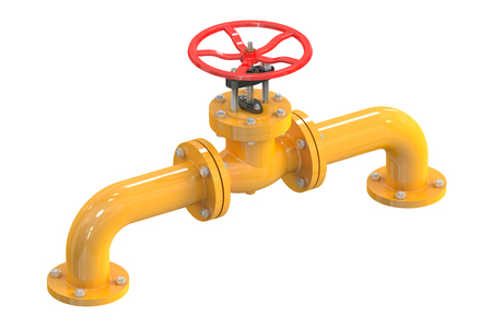 stop gate valve: Pipeline with valve isolated on white background Stock Photo