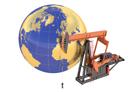 pumpjack: Pumpjack with globe isolated on the white background Stock Photo