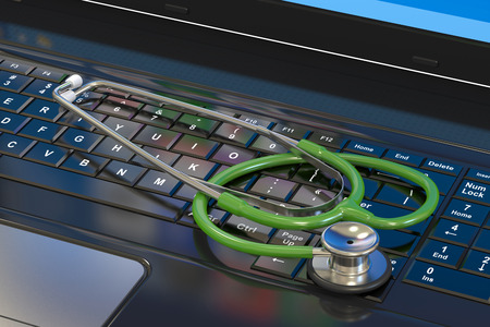 computer devices: Stethoscope on laptop keyboard