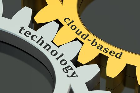 cloud based: cloud-based technology concept isolated on black background Stock Photo