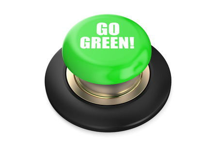 go green background: Go green! button isolated on white background