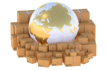package sending: Global logistics, shipping and worldwide delivery business concept Stock Photo