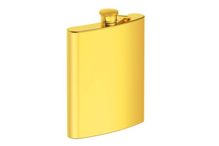 hip flask: golden hip flask isolated on the white background