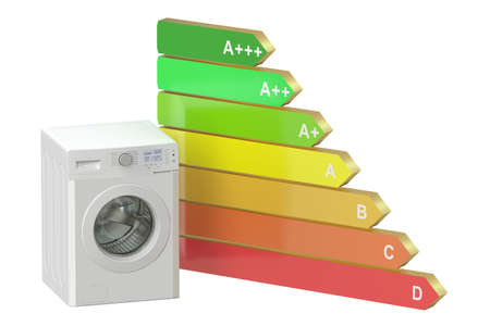 consuming: Energy efficiency concept with washing machine