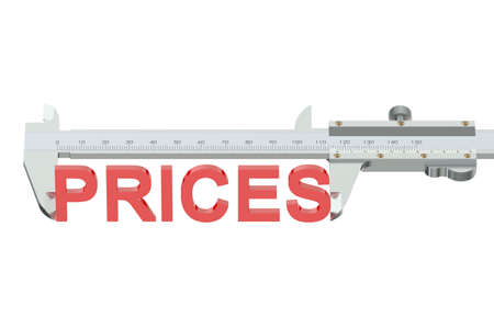 vernier: prices measuring concept isolated on white background Stock Photo