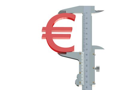 exchange rate: euro exchange rate measuring concept isolated on white background