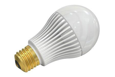power saving lamp: one LED lamp isolated on white background