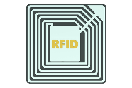 id theft: RFID tag isolated on white background Stock Photo