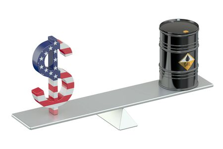 see saw: oil barrel and dollar on see-saw Stock Photo