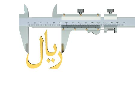 vernier: riyal symbol with vernier caliper isolated on white background Stock Photo