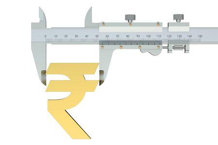 vernier: Rupee symbol with vernier caliper isolated on white background