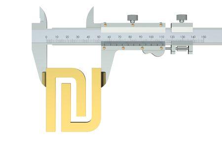vernier: shekel symbol with vernier caliper isolated on white background Stock Photo