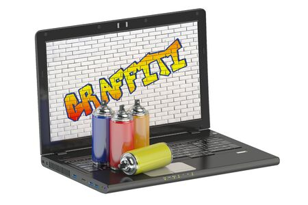 paint cans: spray paint cans and graffiti with laptop
