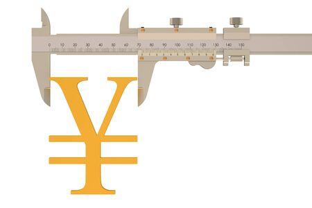vernier: yen or yuan symbol with vernier caliper isolated on white background