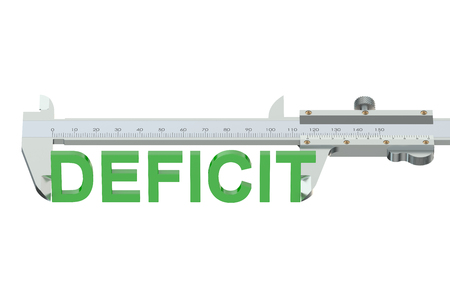vernier caliper: deficit measuring concept isolated on white background Stock Photo