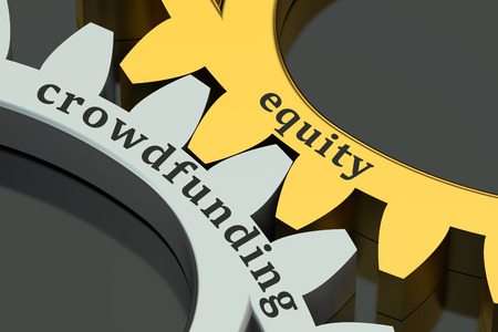 equity: equity crowdfunding concept isolated on black background