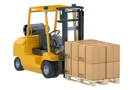 autotruck: Forklift truck with boxes on pallet isolated on white background Stock Photo