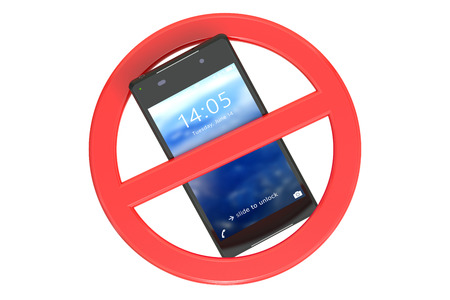 cell phones not allowed: No cell phone sign isolated on white background Stock Photo
