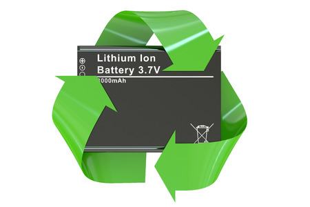 accumulator: Battery or accumulator for phone with recycle symbol Stock Photo