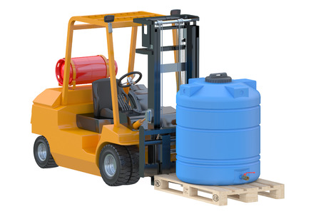 autotruck: Forklift truck with water tank on pallet isolated on white background