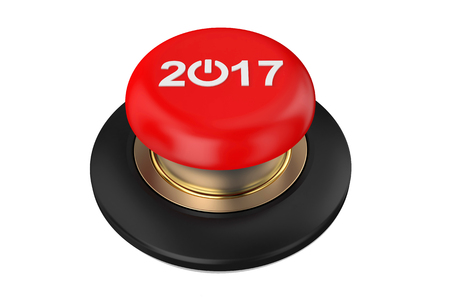 happy new years: 2017 Red Button isolated on white background Stock Photo