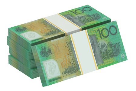 australian money: packs of australian dollars isolated on white background Stock Photo