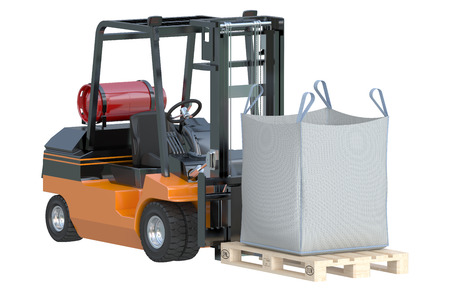 Forklift truck with big bag isolated on white background Stock Photo
