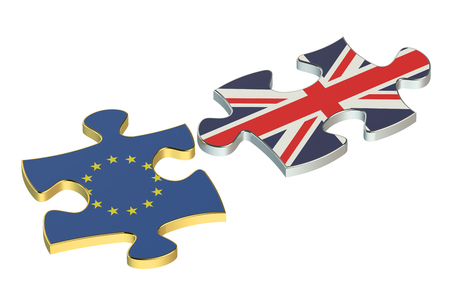referendum: Great Britain and EU puzzles, Brexit referendum concept Stock Photo