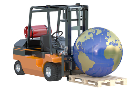 global logistics: Global logistics, shipping and worldwide delivery business concept, forklift truck with globe