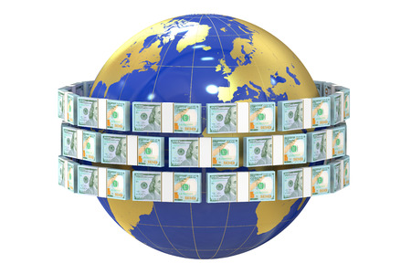 remittance: Global remittance concept, dollars around the world