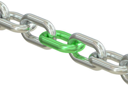 oneness: Chain with green link isolated on white background