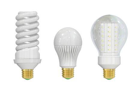 the light emitting: LED (Light Emitting Diode) and saving lamps isolated on white background Stock Photo