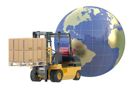 global logistics: Global logistics, shipping and worldwide delivery business concept Stock Photo