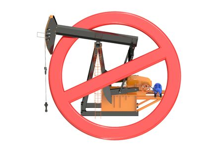 strikethrough: oil pumpjack with forbidden sign isolated on white background