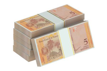 packs of Venezuelan bolívar isolated on white background