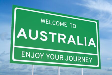 accomplish: Welcome to Australia concept on road billboard Stock Photo