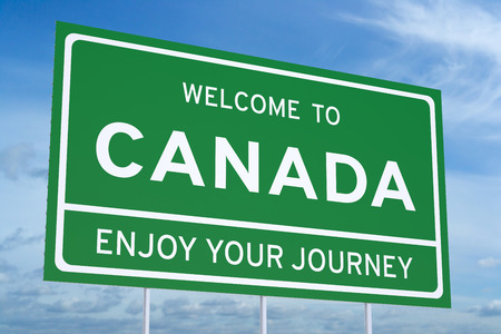 accomplish: Welcome to Canada concept on road billboard