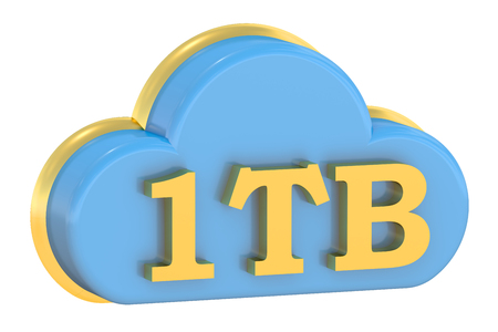 tb: Cloud storage 1Tb concept isolated on white background Stock Photo