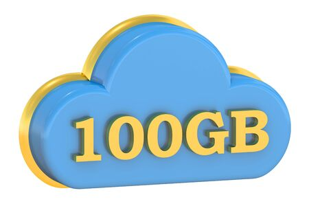 gb: Computing Cloud 100 Gb concept isolated on white background