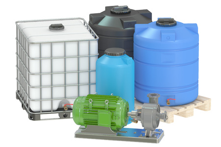 water tanks: Group of plastic water tanks and pumping water